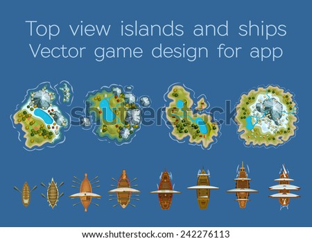 sailing ship and islands top