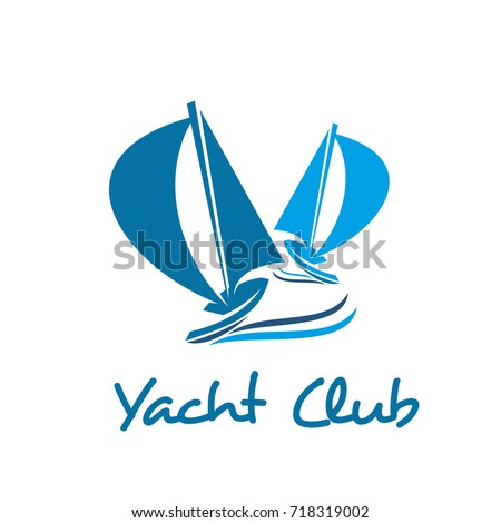 Sailing ship and sail boat icon of sailing sport and yacht club emblem. Yacht sailing under full sails on ocean wave isolated nautical symbol. Sea travel or cruise and regatta races badge design