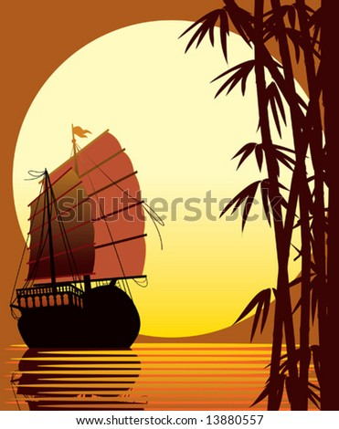 Sailing ship, bamboo forest, sea and sun