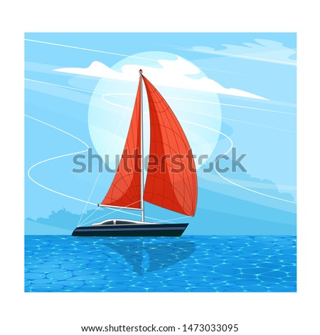 Sailing ship banner in cartoon style. Top view sail boat on deep blue sea water. Luxury yacht race, ocean sailing regatta vector. Nautical worldwide yachting or traveling.