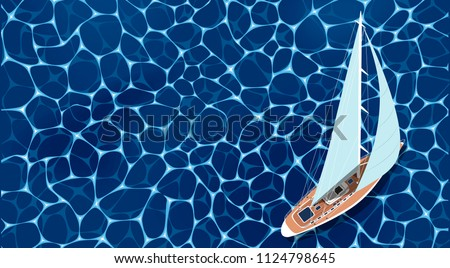 Sailing ship banner. Top view sail boat on deep blue sea water. Luxury yacht race, ocean sailing regatta vector illustration. Nautical worldwide yachting or traveling promotion. Yachting race layout.