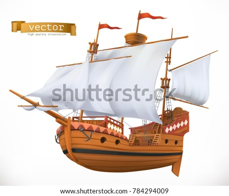 Sailing ship. 3d vector icon