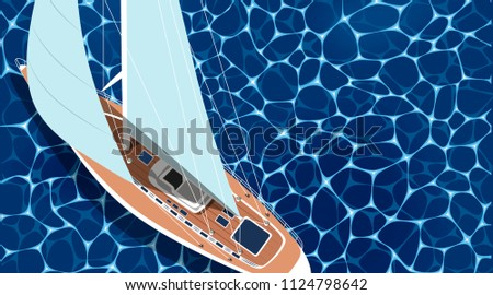 Sailing ship horizontal banner with empty space. Top view sail boat on deep blue sea water. Luxury yacht race, ocean sailing regatta vector. Nautical worldwide yachting or traveling. Yacht sailing