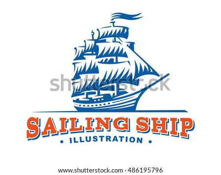 Sailing ship illustration on light background