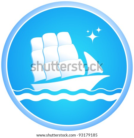 sailing ship in ocean with star