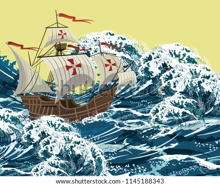 Sailing ship in sea storm waves, realistic vector illustration for Columbus Day design.