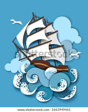 sailing ship in storm  vector