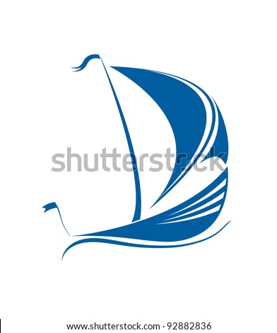 Sailing ship in the ocean vector format