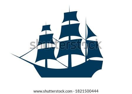 Sailing ship silhouette. Vector EPS10 illustration Stockfoto ©