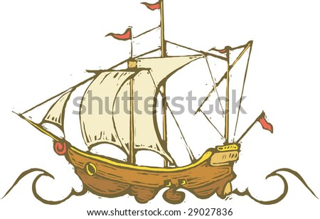 Sailing ship traveling on the ocean.