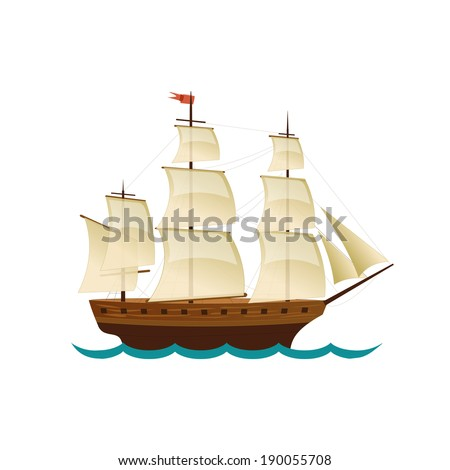 sailing ship vector design for