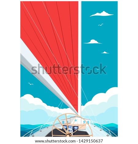 Sailing ship with red sail poster. View from sailboat captain cabin. Cloudy sky and deep blue sea water. Luxury yacht race, ocean sailing regatta vector. Nautical worldwide yachting and traveling.