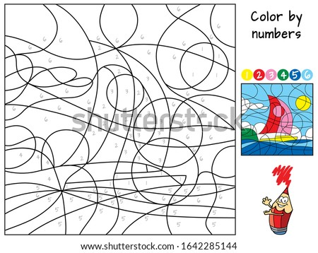 Sailing ship yacht sails in the sea. Color by numbers. Coloring book. Educational puzzle game for children. Cartoon vector illustration