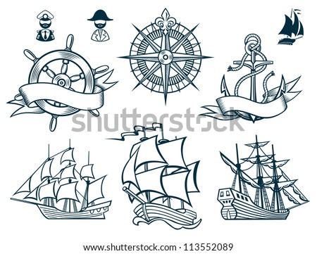 sailing ships emblems iconset