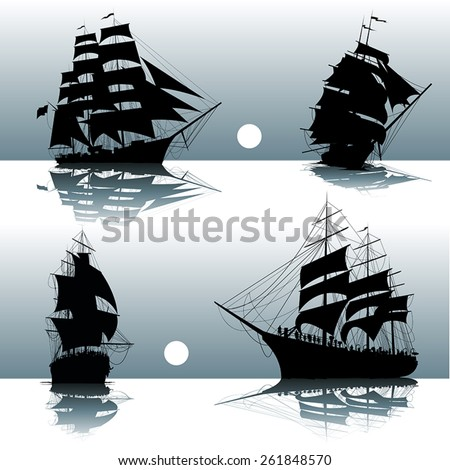 Sailing ships on the sea isolated. Vector illustration