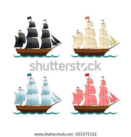 sailing ships set vector