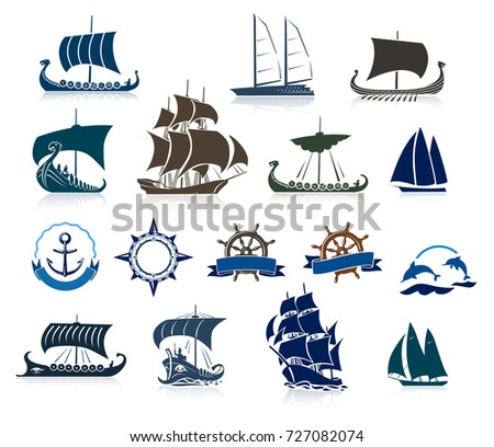 sailing ships silhouettes and