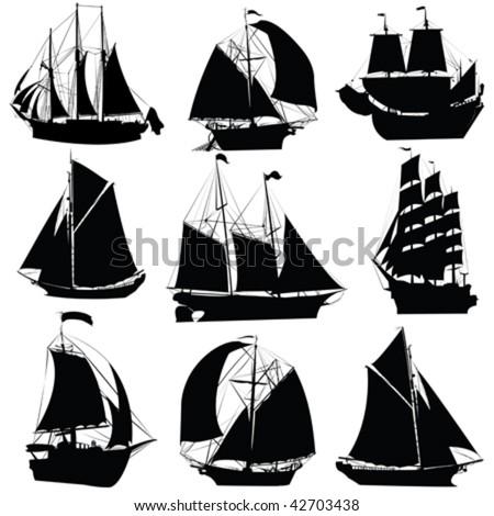 sailing ships silhouettes