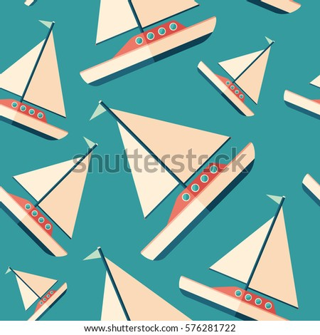 Sailing yacht flat icon seamless pattern.