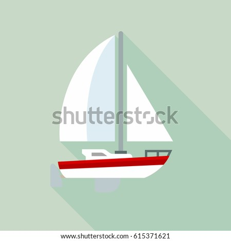 Sailing yacht flat icon with long shadows