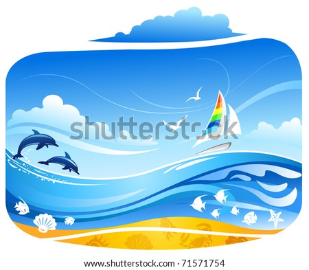 Sailing yacht in tropical sea with dolphins and birds - stock vector