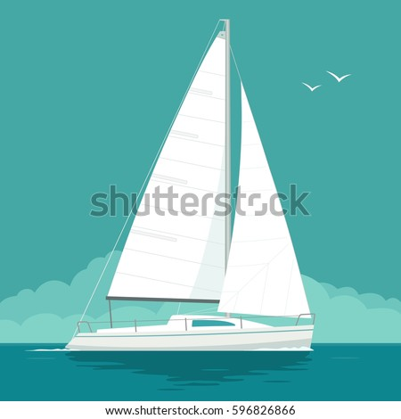 Sailing yacht on the sea waves. Sailboat. Vector drawn flat illustration. Isolated on white background.