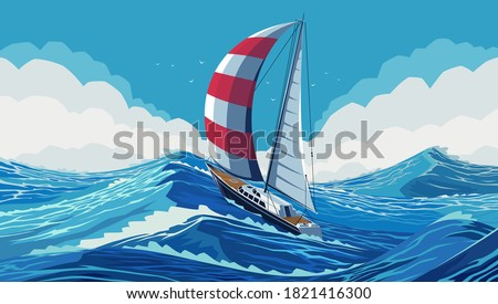 Sailing yacht with white and red sails in the open ocean. The ship is fighting the sea element. Chic sailing ship on waves. Luxurious yacht race, banner illustration of sea sailing regatta. EPS 10 Stockfoto ©