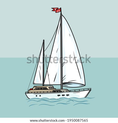 Sailing yacht with white sails in the open ocean. Illustration chic sailing ship on waves. Luxurious yacht race, illustration of sea sailing regatta. Vector