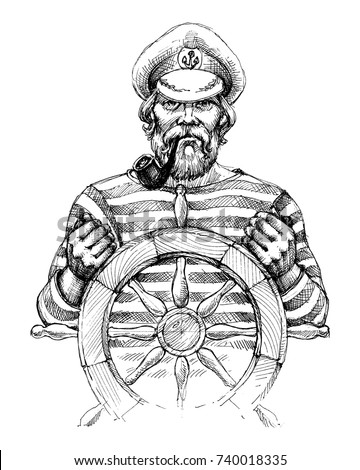 Sailor at helm drawing