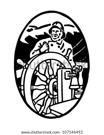 Sailor At The Helm Vignette - Retro Clipart Illustration