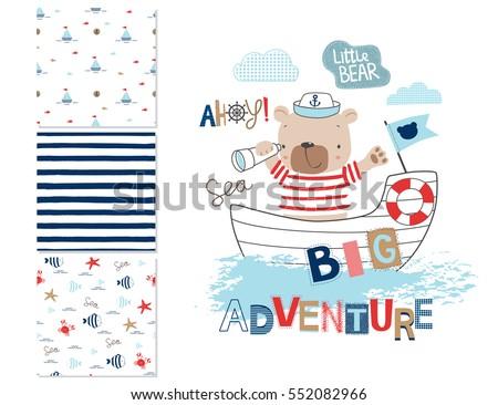 sailor bear and 3 seamless