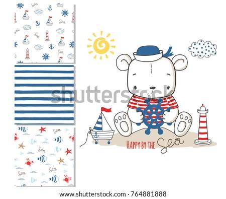 sailor bear surface design and