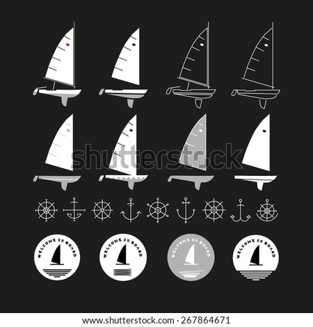 sailor boats set   stock vector