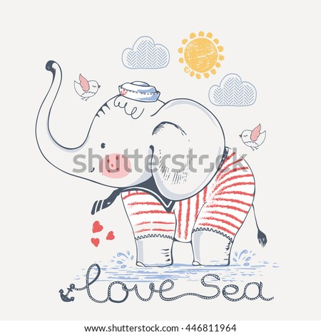 Sailor Elephant, hand drawn vector illustration, can be used for kid\'s or baby\'s shirt design, fashion print design, fashion graphic, t-shirt, kids wear
