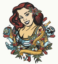 Sailor girl pin up style. Color tattoo and t-shirt design. Sea woman, steering wheel, anchor and flowers. Old tattooing art