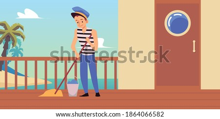 Sailor man cartoon character busy with routine job on sea ship, flat vector illustration. Sailor or seaman washing marine vehicle or yacht wooden deck.