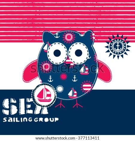 sailor owl on striped