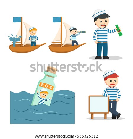 sailor people set illustration design