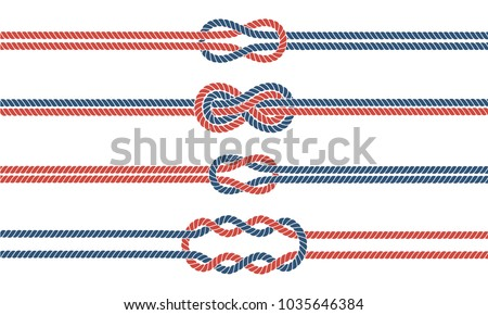 Sailor rope knot dividers and borders set. Vector illustration