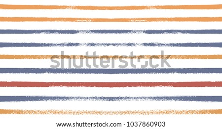 Sailor Stripes Seamless Vector Summer Pattern. Autumn Colors Brown, Orange, Purple, Red, Grey, White, Ocher Stripes. Hipster Vintage Retro Textile Design. Creative Horizontal Banner. Old Watercolor.