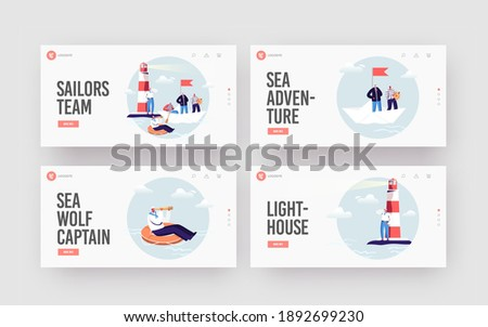 Sailors Landing Page Template Set. Ship Crew Characters in Uniform at Beacon. Captain, Sailors in Stripped Vest with Steering Wheel and Life Buoy on Paper Boat. Cartoon People Vector Illustration
