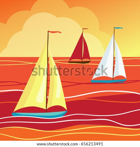 Sails in sea. Vector illustration. Yachts with colourful sails against the sunset or sunrise. Yacht regatta.