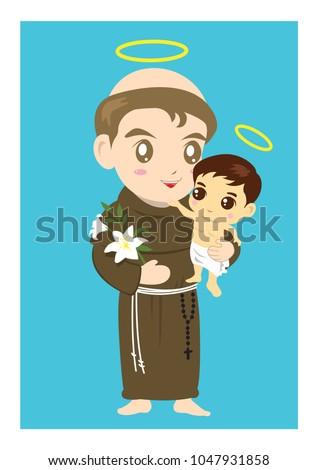 Saint Anthony and child Jesus vector cartoon catholic
