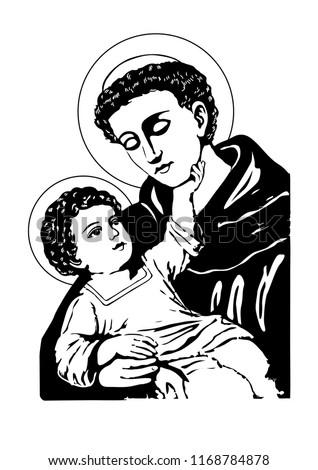 Saint Anthony with Child Jesus Catholic vector