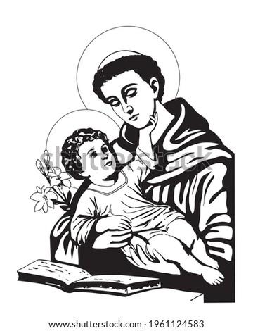 Saint Anthony with Child Jesus Illustration Catholic religious vector Photo stock ©
