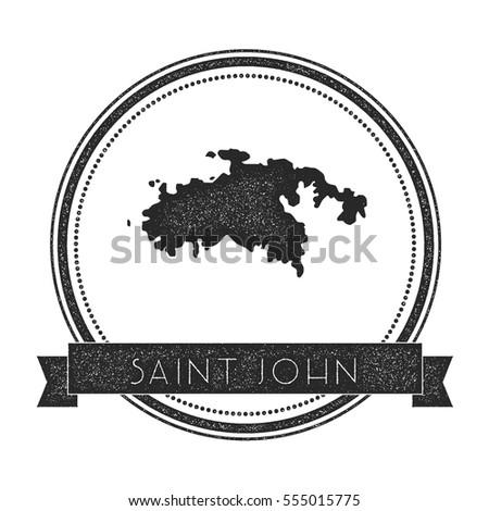 saint john vector map stamp