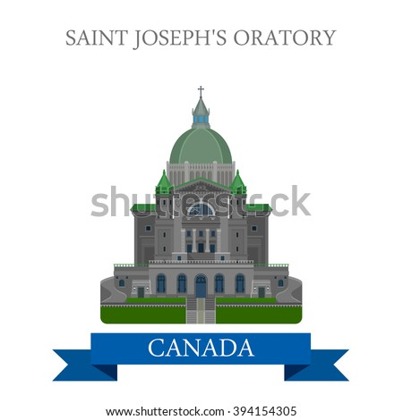 Saint Joseph Oratory in Montreal Canada. Flat cartoon style historic sight showplace attraction web site vector illustration. World countries city vacation travel sightseeing North America collection