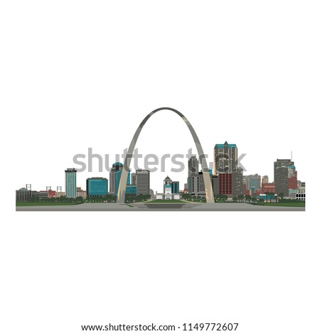 saint louis city skyline  color