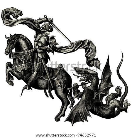 Saint Michael archangel - vintage engraved illustration -