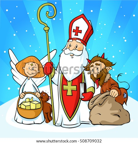 saint nicholas  devil and angel